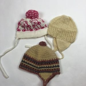 VTG Lot of 3 Girls Hand Knit Winter Hats Made in M